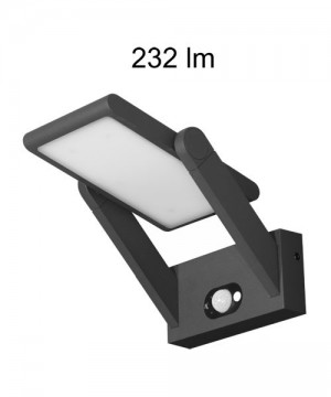 BENEITO Proa 3532 Lampada da Parete per Esterno a LED con Pannello Solare 2,5W NERO
