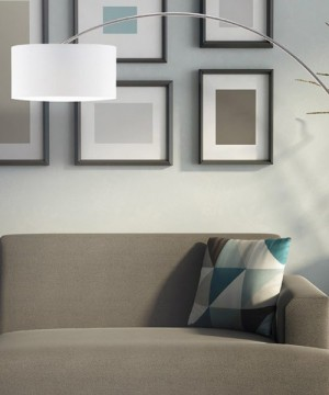 PAN Bow TER095 Lampada Moderna da Terra Paralume in Tessuto