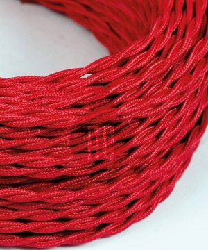 AMARCORDS AX758 Cavo Elettrico Tessuto Trecciato Cotone Rosso 3 x 0,75