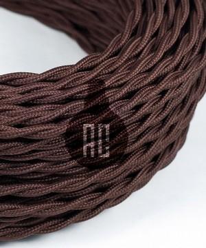 AMARCORDS AX762 Cavo Elettrico Tessuto Trecciato Cotone Marrone 3 x 0,75