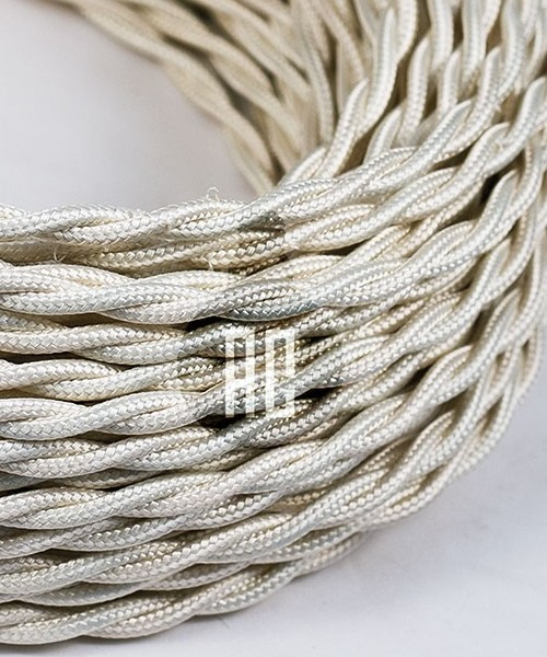 AMARCORDS AX167 Cavo Elettrico Tessuto Trecciato Cotone Bianco Avorio 3 x 0,75