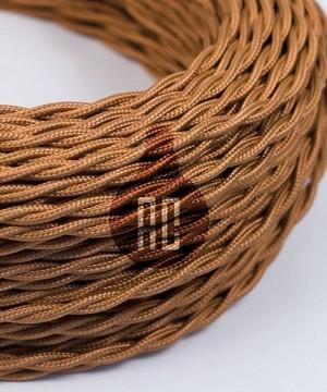 AMARCORDS AX765 Cavo Elettrico Tessuto Trecciato Cotone  Bianco Whiskey 3 x 0,75