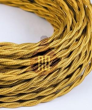 AMARCORDS AX170 Cavo Elettrico Tessuto Trecciato Cotone  Bianco Oro 3 x 0,75