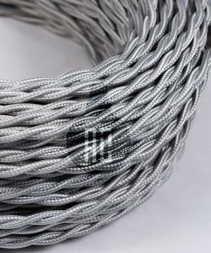 AMARCORDS AX166 Cavo Elettrico Tessuto Trecciato Cotone Argento 3 x 0,75