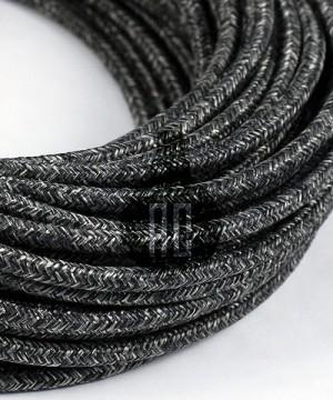 AMARCORDS AX640 Cavo Elettrico Tessuto Tondo Cotone Canvas Antracite 3 x 0,75