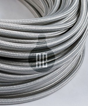 AMARCORDS AX631 Cavo Elettrico Tessuto Tondo Cotone Argento 3 x 0,75