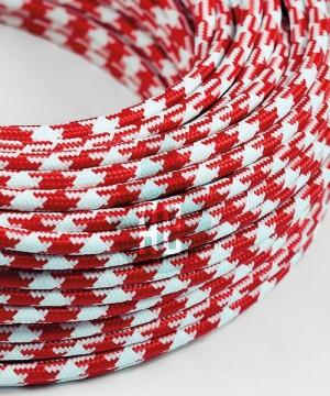 AMARCORDS AX625 Cavo Elettrico Tessuto Tondo Cotone Rosso Bianco 3 x 0,75