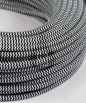 AMARCORDS AX620 Cavo Elettrico Tessuto Tondo Cotone Bianco Nero 3 x 0,75