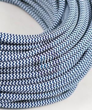 AMARCORDS AX619 Cavo Elettrico Tessuto Tondo Cotone Bianco Blu 3 x 0,75