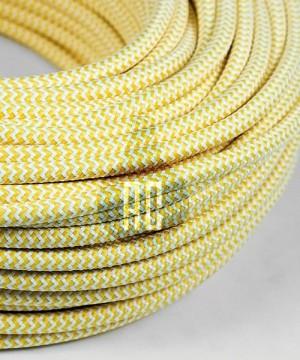 AMARCORDS AX617 Cavo Elettrico Tessuto Tondo Cotone Bianco Giallo 3 x 0,75