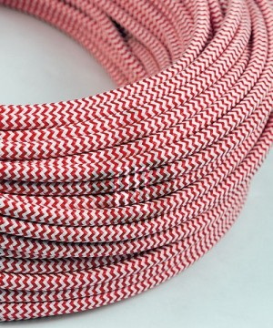 AMARCORDS AX616 Cavo Elettrico Tessuto Tondo Cotone Bianco Rosso 3 x 0,75