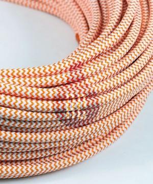 AMARCORDS AX614 Cavo Elettrico Tessuto Tondo Cotone Bianco Arancio 3 x 0,75