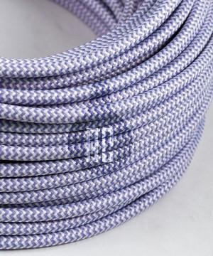 AMARCORDS AX613 Cavo Elettrico Tessuto Tondo Cotone Bianco Lilla 3 x 0,75
