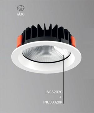 PAN Tribal INC52020 + INC52020R Faretto da Incasso LED 30w