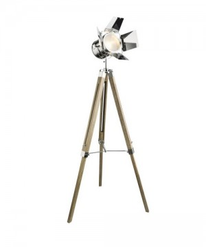 GLOBO Evy 58289 Lampada da Terra Legno/Cromo