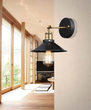 GLOBO Lenius 15053W Lampada Parete Metallo Nero/Ottone