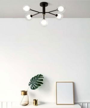 SFORZIN Cosmo 1744.166 Lampada Moderna da Soffitto 5 Luci Nero