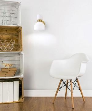 SFORZIN Fifty 1744.17 Lampada Moderna da Parete 1 Luce Diffusore bianco Opale