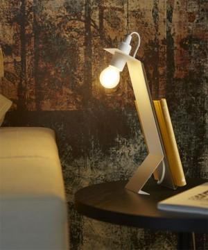GIBAS Rail 171/31 C89 Lampada da Tavolo Moderna Latte e Miele