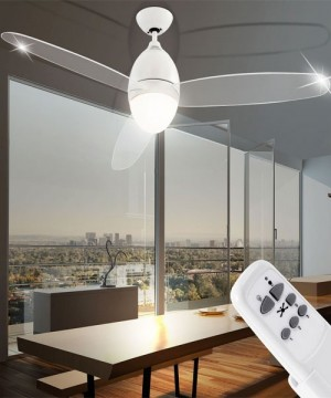 GLOBO Premier 0300 Bianco Ventilatore a Soffitto con Luce a LED