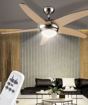 GLOBO Fabiola 0306A Ventilatore a Soffitto con Luce 5 Pale Acero