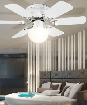 GLOBO Formentera 03070 Ventilatore a Soffitto con Luce 6 Pale Bianco/Grigio