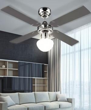 GLOBO Champion 0330S Ventilatore a Soffitto con Luce 4 Pale Reversibili Grafite/Acero