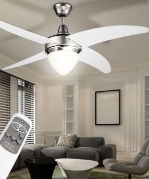 GLOBO Cabrera 03060 Ventilatore a Soffitto con Luce 4 Pale Bianco