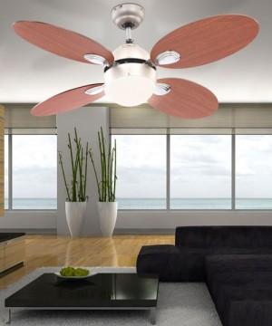 GLOBO Wade 0318 Ventilatore a soffitto 4 Pale Reversibili Ciliegio Noce