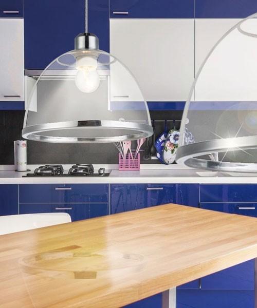 Globo carlo 15180 lampadario moderno con diffusore in acrilico trasparente la luceria - Lampadario moderno cucina ...