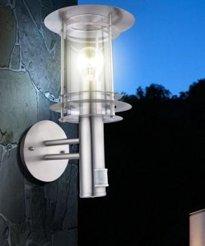 GLOBO Miami 3151S Lampada per Estero da Parete in Acciaio Inox con Sensore