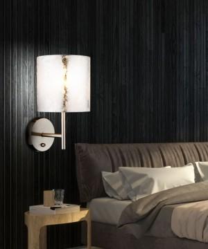 GLOBO Amy I 15188W Lampada Moderna da Parete con Paralume in Tessuto Argentato