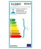GLOBO Ciumbra 63116-6 Lampadario in Cristallo Acrilico 6 Luci Trasparente-Cromo