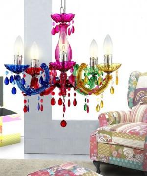 GLOBO Cuimbra 63118-5 Lampadario in Cristallo Acrilico 5 Luci Multicolore