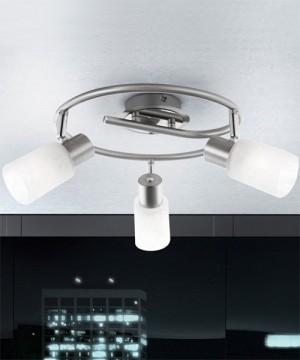 GLOBO Kati 54913-3 Lampada da Soffitto 3 Faretti orientabili in Vetro Ottico Alabastro