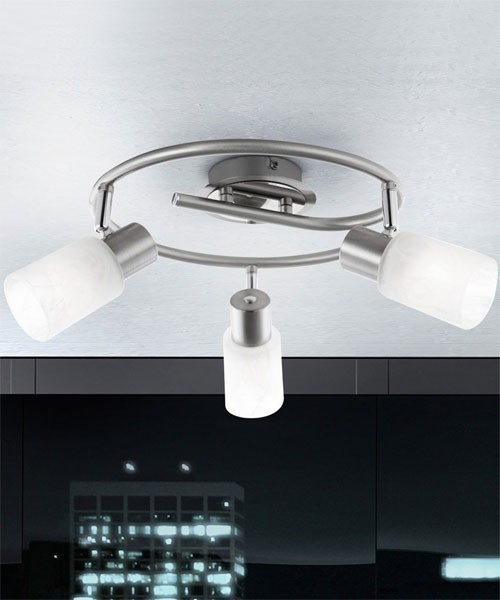 GLOBO Kati 54913-3 Lampada da Soffitto 3 Faretti Orientabili in Vetro Ottico Alabastro - La Luceria