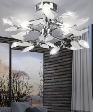 GIBAS Vida 63160-3 Lampada da Soffitto Moderna Foglie Cristallo Trasparente-Bianco