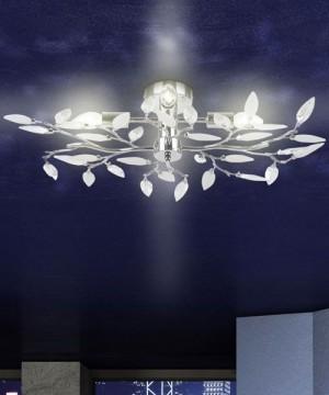 GIBAS Vida 63160-4 Lampada da Soffitto Moderna Foglie Cristallo Trasparente-Bianco